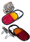 Tail Light Assembly European Dual Bulb Holder,*Amber/Red* Lens 61-71 EACH (B34)