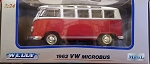 WELLY 1962 VW Microbus 1:24 Scale RED/WHITE