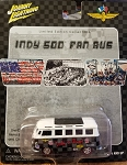 Johnny Lightning INDY 500 FAN BUS Limited Edition 2002 (BLACK/GREY CHECKERED)