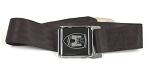 SEAT BELT, black strapping material, fits all Bus middle seats, includes mounting hardware, original style with Wolfsburg crest on buckle (1-19A)