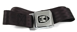 Seat Belt, Middle, Black Strap With Chrome Buckle, Chrome/Black Crest (1-17)