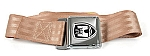 Seat Belt, Front & Rear, Tan w/ Chrome Buckle with Crest (1-16)