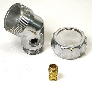 Angle Oil Filler Polished Aluminum WITH Vent