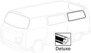 WINDOW WEATHERSTRIP, rear side window, seals large fixed window for Buses not equipped with center side vent window, fits 1968-1979 deluxe Buses (has groove for molding), fits left and right, each, Wolfsburg West